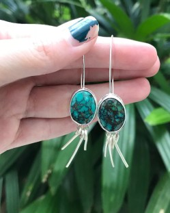 A pair of Turquoise gemstone earrings
