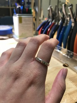 A sterling silver ring made in a metalsmithing class