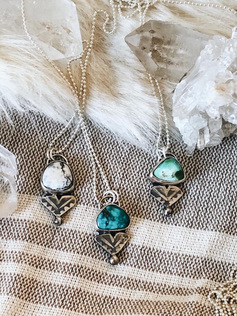 Solis.Designs dainty layering gemstone necklaces, white buffalo turquoise, royston turquoise